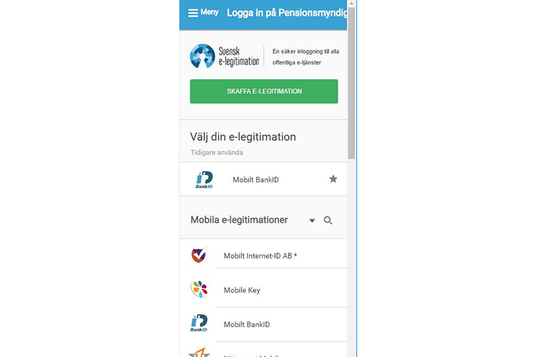 Mobile version of web page where the users chooses their provider of e-ID
