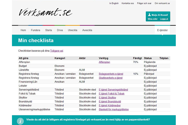 A checklist with items that are customized based on the choices the user made