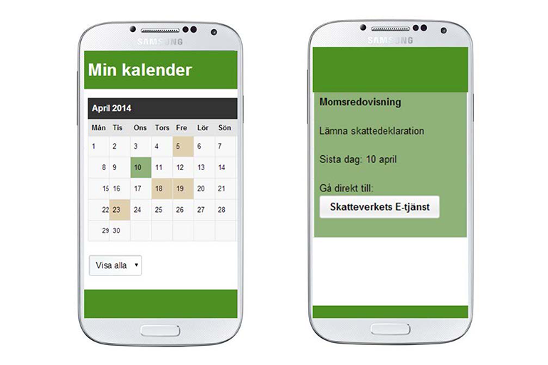 Mobile view of the calendar