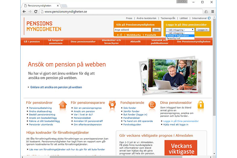 The website pensionsmyndigheten.se modified by us to show how the new service could work