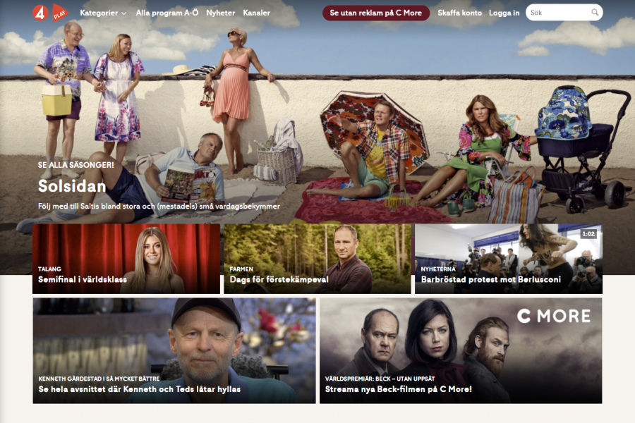 Starting page of tv4play.se