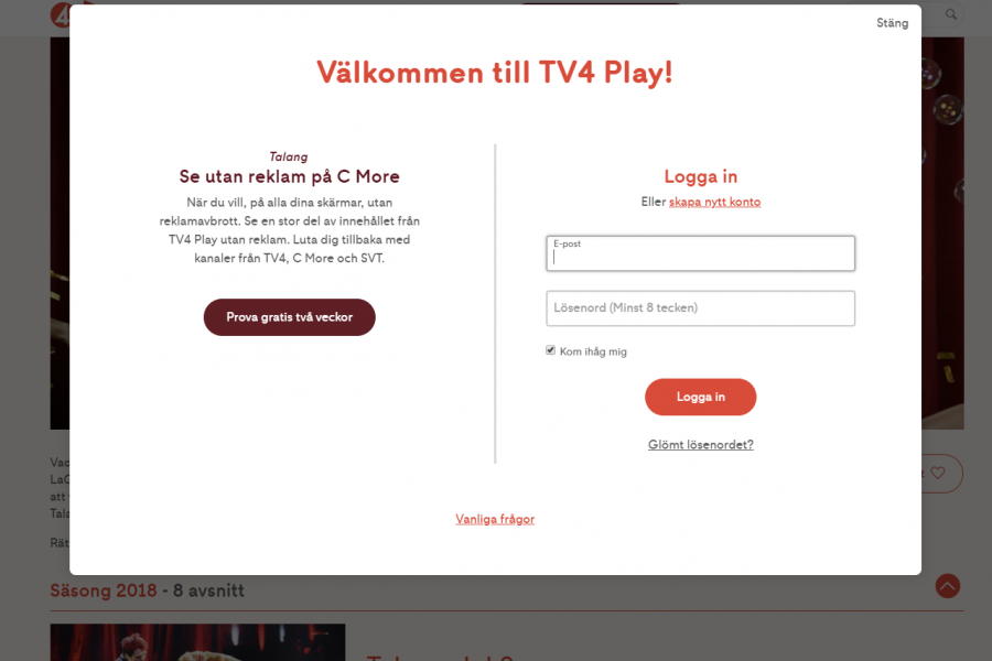 Login page at tv4play.se